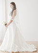 Mixed race bride in wedding dress