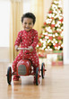 African toddler driving toy car
