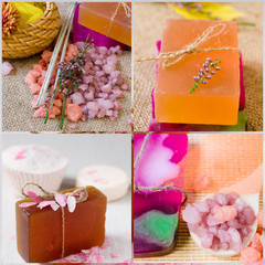 SPA the concept a collage. Natural handmade Soap.