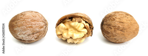 Three walnuts in a line