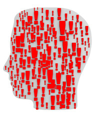 3d white silhouette of a head with exclamation marks.