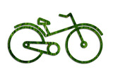 eco transportation concept: bicycle frame from grass texture poster