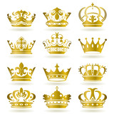 Fototapety Gold 12 Crown Icons Set