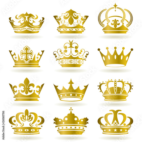 Gold 12 Crown Icons Set