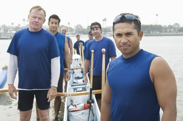 Outrigger canoeing team, group portrait