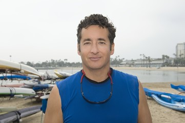 Portrait of sportsman in marina