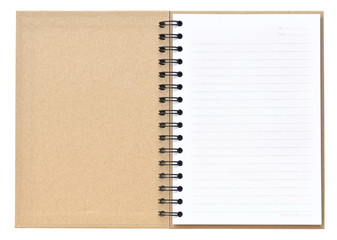 Open recycle notebook on white background