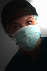 Theatre nurse in medical scrubs