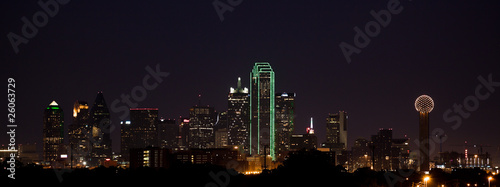 Poster Texas Dallas Skyline at Night