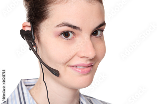 customer service - pretty young adult woman wearing telephone he
