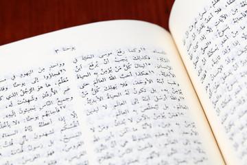 Arabic Bible open to Gospel of John. Focus on John 3:16