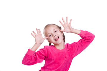 Funny Faces. Girl plays the fool isolated on white