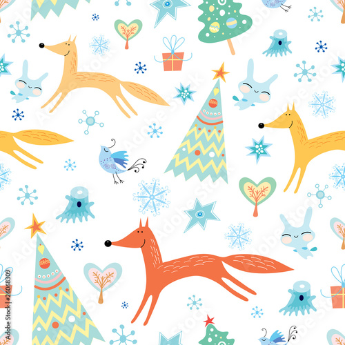Cotton fabric Winter texture with foxes
