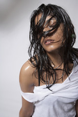 Sexy Indian woman with wet hair