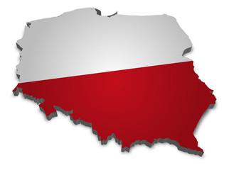 Poland 3D with flag