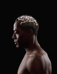 Brain activity of mixed race man