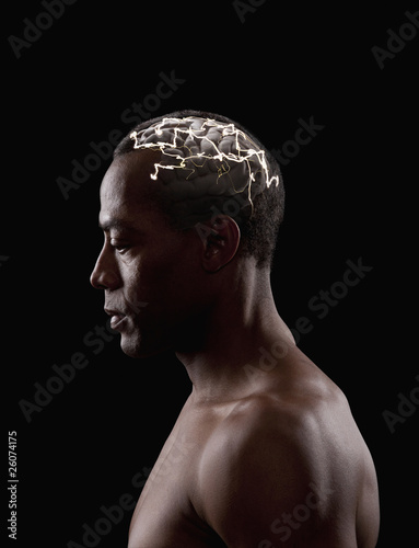 Brain activity of mixed race man