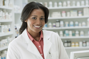 Smiling African pharmacist
