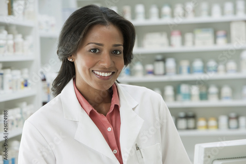 Smiling African pharmacist
