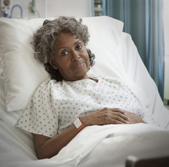African hospital patient frowning