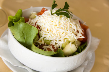 Sopska Salad,Serbian Gourmet Salad with rubbed Cheese