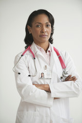 Portrait of mixed race doctor