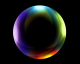 Fototapety Neon Colorful Floating Sphere with Light Reflections