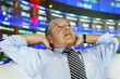 Hispanic businessman at stock exchange