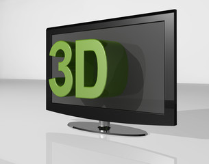 3D TV green large text