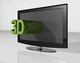 3D tv green small tekst