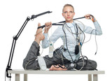 Flexible business woman dealing with disorder poster