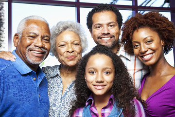 African American family smiling together