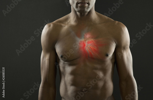 African American man with glowing heart