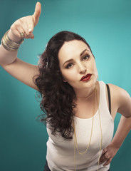 Glamorous Hispanic woman gesturing