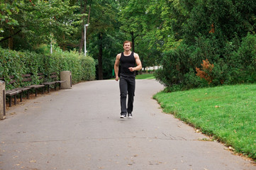 Man-runner in park
