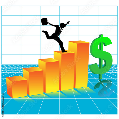 businessman running 3 d diagram.Vector