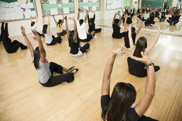 Students stretching in dance class