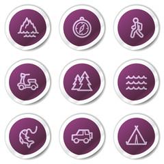 Travel web icons set 3, purple stickers series