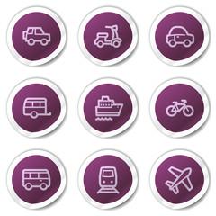 Transport web icons, purple stickers series
