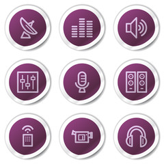 Media web icons, purple stickers series