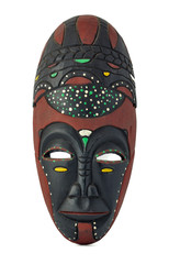 African wooden mask isolated on white background