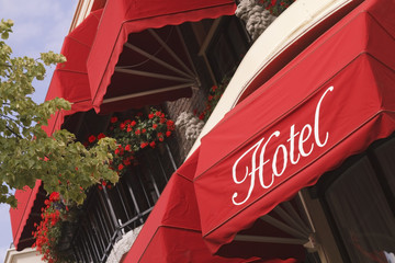 Bright red hotel awnings