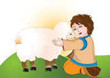 Sheperd child with his favorite sheep in the meadow poster