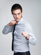 Business competition - Young male entrepreneur ready for fight