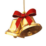 Pair of golden bells with red bow