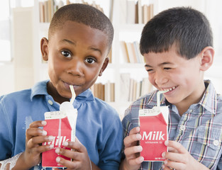 Boys drinking milk from carton