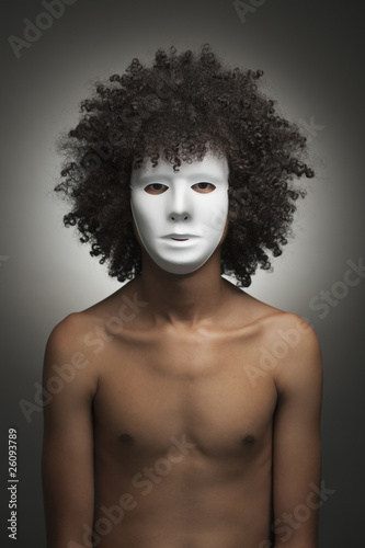 South African man wearing white mask