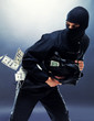 Bank robbery - Male thief running with handbag