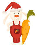 Christmas bunny and big carrot