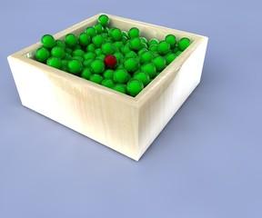sfere nel contenitore